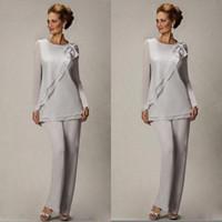 şık gümüş şifon toptan satış-Zarif 2019 Artı Boyutu Gümüş Pantolon Takım Elbise Gelin Damat Boncuklu Şifon Düğün Akşam Abiye