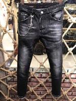 Wholesale Cowboy Sexy Man - 2017 new autumn and winter fashion young men's wear DSQ cowboy trousers beggars paint sexy casual pants men's zipper jeans D2 pants