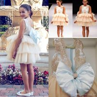 Wholesale Cheap Short Baby Blue Dresses - 2017 New Cute Baby Girl Flower Girls' Dresses Crew Neck Backless Lace Bodice Short Toddler Bow Tiers Skirt Cheap Kids Formal Wear