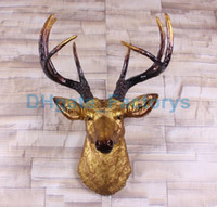 Wholesale Hanging Wall Carving - Big Size Gold Deer Head Wall Decor | Stag Head Wall Mount | Animal Head Wall Hanging Sculpture | Faux Animal Heads By White Faux Taxidermy