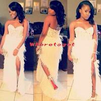 vestido de fiesta de diamantes de imitación de plumas blancas al por mayor-2019 New Arrivel Long Feather Mermaid Prom Gowns White Sweetheart Rhinestones Splite vestidos de noche African Black Girl Prom