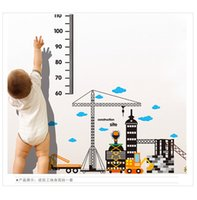 Wholesale Kid Measuring Height - Wholesale- construction Building Height Chart Wall Stickers For Kid Baby Room Removable Nursery Room Height Measure Stickers Muruax Poster