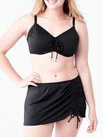 Wholesale Skirted Bikinis - Plus size Women's Mid waist Skirt bikini set swimwear Free shipping sexy secret push up swimsuit solid black Nylon