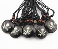 Wholesale Boys Skull Pendant - Wholesale 12PCS Boy Men's Handmade Round Dog Tag Pirate Skull Charm Pendants Necklace Halloween Gift MN352