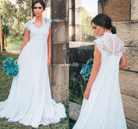 Wholesale empire waist wedding dresses bodice for sale - Group buy Country Maternity Wedding Dresses Empire Waist Appliques Lace Floor Length Chiffon Outdoor Pregnant Bridal Gowns Cheap A Line Dress