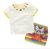 Wholesale National Outfits - 2016 Children national wind dress Set Kids Suit Outfits baby girls Summer short sleeve tops T shirts+Kids Tutu print skirts Children sets