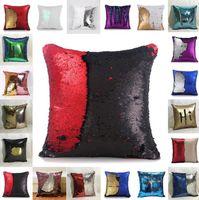 Wholesale Decorative Pillow Sofa - Sequin Mermaid Pillow Case cover Reversible Sofa Cushion Cover Glitter Pillowslip Home Car Decorative Magic Pillow Covers KKA983