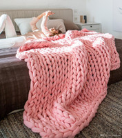 1pcs L High quality polyester fiber Warm Chunky Knited Blanket Thick Woven Yarn Merino Wool Bulky HandCraft Kinit Throw Blanket 16 color