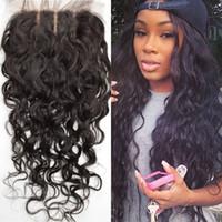 Wholesale Silk Top Closure Hair - Cheap three part silk base lace closure 4x4 with baby hair virgin brazilian water wave 100% human hair top silk closure G-EASY