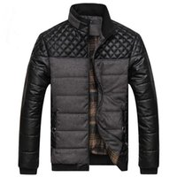 Wholesale Leather Parka Coat Jacket Men - Wholesale- New Brand Winter Jacket Men Casual Fashion Cotton Padded Thick Warm Jacket Patchwork Men Army PU Leather Jackets Parka Coats 4XL