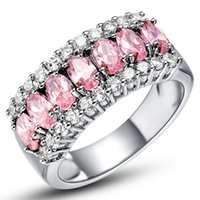 Wholesale Vintage Pink Sapphire - Charming Pink Sapphire Female Engagement Luxury Ring White Gold Filled Jewelry Vintage Wedding Rings For Women Bijoux Femme