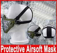 Wholesale Airsoft Half Mask Mesh - ZL-V1 Half Lower Face Metal Steel Net Mesh Hunting Tactical Protective Airsoft Double Belt Mask New