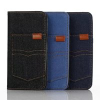 Wholesale Blue Jean Wallet - Jean Jeans Cowboy Leather Cover for Samsung Galaxy Note7 Wallet Phone Frame Card Slot Kickstand Case for iphone7 iphone7 plus Wood Pattern