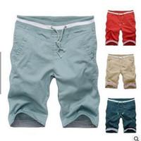 Wholesale Flax Pants Xl - Plus Size New Summer Shorts Men Fashion 100% Cotton Men's Mens Casual Flax Pants Summer Patchwork Shorts 7 Colors SizeM--5XL Drop Shipp