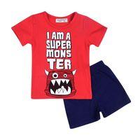 Wholesale Boys Clothes T - Fashion Monsters Print Boy Clothing Set 2pcs Summer Red Short Sleeve Boy T-Shirt Black Short Clothing Set Hot Sales