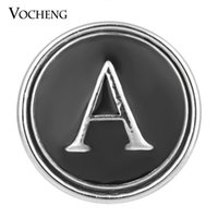 Wholesale 18mm letters - VOCHENG NOOSA 26 English Letters Black Snap Jewelry 18mm Metal Button Vn-1295