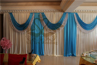 black and turquoise wedding - White And Turquoise Color Wedding Backdrop Curtain Include Sequin Fabric With Pipe Stand Stent