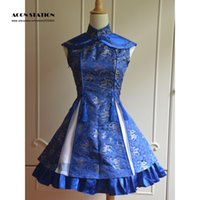 All'ingrosso-2016 New Classic Blu Qi Lolita Dress sleevesless Lace Up Stampa raso