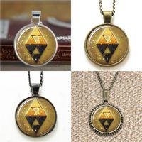 Wholesale Zelda Earrings - 10pcs Zelda pendant Triforce Between Shadow glass Necklace keyring bookmark cufflink earring bracelet