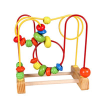 beads around wooden toys NZ - Baby Mini Wooden Around Beads Wooden Toys Maze Baby Intellectual and Brain Development Early Educational Toys for Kids Birthday