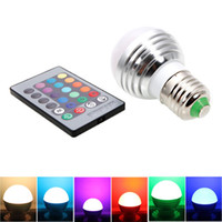 Wholesale E27 Led Remote Base - 3W RGB LED Light Bulb E27 Standard Screw Base 16 Colors Changing Dimmable with IR Remote Controller for Home Decoration Bar Party KTV