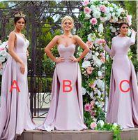 Wholesale Sweetheart Neckline Bridesmaid - Arabic muslim long sleeves datchable train mermaid bridesmaid dresses satin v-neckline jewel sweetheart necline wedding guest dresses