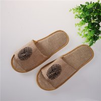 Wholesale Universal Linens - Cotton Linen Disposable Slippers Universal Non Slip Massage Babouche Brown Bare Toes Baboosh High End 1 4ty B