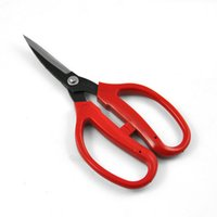 Wholesale Forged Tool Steel - wang wu quan durable 160 mm length carbon steel curved blade scissors red plastic handle forged steel daily hand tool scissors