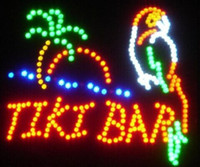 Wholesale Tiki Bar Open Signs - 2016 hot sale 19*19 inch indoor Ultra Bright TIKI BAR Home Wall Decor led Neon open sign led billboards Wholesale