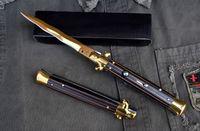 "Wholesale Ebony Wood Knife - Best Value AKC Knife 11"" Italian Godfather Stiletto Ebony Wood Folding Knife Bayonet 9Cr18Mov Steel Knife Xmas Gift F23L"