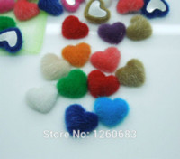 Wholesale Quilt Fabric Hearts - 100pcs 17mm*15mm Heart Handmade Velvet Fabric Covered Chunky Buttons - Flat Backs, Assorted Colors M68422