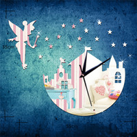 Wholesale Castle Wall Decor - Acrylic 3D mirror wall stickers clock Creative Home Decor DIY fairy star castle Carved bedroom Removable Decoration Stickers 2017 wholesale