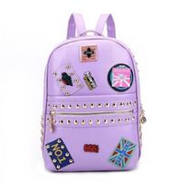 Wholesale Trendy Travel Backpacks - Unique Trendy Style Rivet Badge Women's Leather Backpack Schoolbags School bags For Girl Teenagers Ladies Casual Travel bag