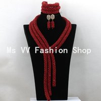 Wholesale Beads Red Necklace Earrings - 2016 vintage rhinestone costume jewelry earrings bracelets set necklace red African Wedding Beads Jewelry Set For Brides Crystal Jewelry Set