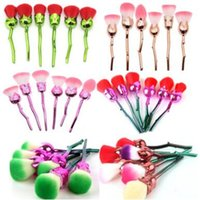 Barato Escovas De Cabelo Para Styling-9 estilos Rose Flower Makeup Brushes Set Hair sintético Professional Foundation Cosmetic Brush Make Up Brushes Set 6pcs / set CCA6822 50set