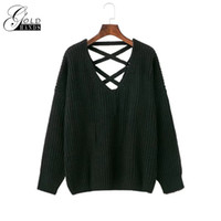 Wholesale Woman Pull Ship - Sexy backless knitting pullover Fashion lace up autumn winter sweater women tops Casual hollow out jumper pull Female Free Shipping