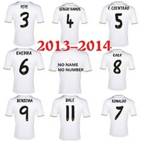 Wholesale Retro Clothes - 2013 2014 madrid retro soccer jerseys Top thai 3AAA quality custom name number Zidane RONALDO RAMOS BALE BENZEMA football shirts clothing