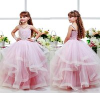 Pink Glitz Flower Girls Dresses Детские бальные платья Spagheti Strap Kid Party Birthday Comion Dress Назад Lace Up Layers Girls Pageant Dress