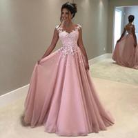 Wholesale Pink Transparent Dress Women - Vintage Pink Prom Dress Long 2017 Jewel Sleeveless Sexy Transparent Back A Line Women Evening Party Dresses Pageant Sweet 16 Dresses