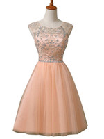 Wholesale Images Group Fashion - new high-necked jacket 2016 Prom Dresses sparkling crystal beaded short group graduation fashion formal beauty Prom Evening Dress plus size