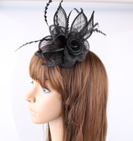 Wholesale Sinamay Hat Black - Enchanting black color available sinamay material fascinator show headpiece cocktail hat bridal headwear party hair accessories OF1558