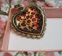 Wholesale Leopard Long Necklace - Leopard Heart Necklace Love Heart Long Sweater Chain Leopard Heart Pendant Jewelry Leopard Heart Shaped Jewelry
