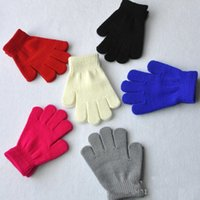 Wholesale Boys Mittens Black - winter gloves for kids winter gloves mittens children Mitten Girl Boy Kid Stretchy Knitted glove multicolors cotton knitted gloves