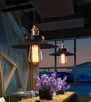 ingrosso ciondoli a lampadario in ferro nero-Lampadari vintage lampadari stile americano americano lampadari neri Base di ferro Loft bar ristorante cucina illuminazione a sospensione 220v