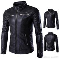 Wholesale European Leather Jackets For Men - Leather Jackets For Men Stand Collar Wild European PU Men Jackets Winter Personalize Zipper Desgin Leather Motorcycle Men Jacket J161016