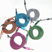 Wholesale Colorful M FT Metal Head Woven Fabric Braided Auxiliary Aux Audio Cable mm Jack Male to Male Car Cable Cord DHL CAB133