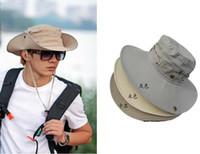 Wholesale Wholesale Safari Hat - Wholesale-Men's plain Bucket Caps Safari Hat Outdoor Hunter Caps Wide Brim Boonie BC-87
