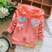 Wholesale Girls Spring Baby Jacket Children - 2015 spring and autumn children baby Zipper cardigan Jacket,child girls cartoon bear and bowknot cardigan hoodies,V1567