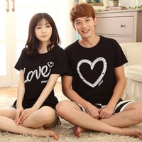 Wholesale Men S Clothes Wholesale Prices - Wholesale- Factory price Short Sleeve Cotton Lovers Home Clothing Couples Pajamas Casual Pajamas Sets For Women &Men 2016 Hot Sleepwear