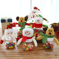 Wholesale Plastic Flock Box - The new Christmas candy jar small round five-star doll candy box candy box Sugar Bowl Santa Claus Snowman Elk Gift
